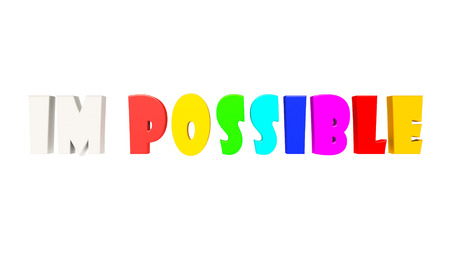 feasible: Inscription impossible is written by colourful letters on a white background. Stock Photo