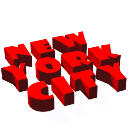 sharpness: Red inscription New York City with the small depth of sharpness on a white background. Stock Photo