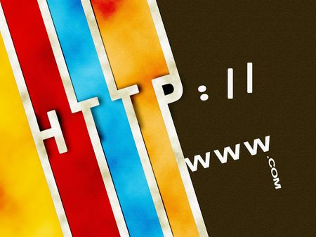 http  www: Words http www and .com with lines and colors Stock Photo