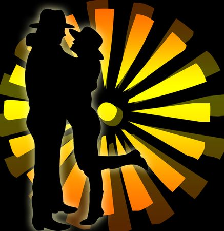 Silhouette of a woman and a man with hat photo