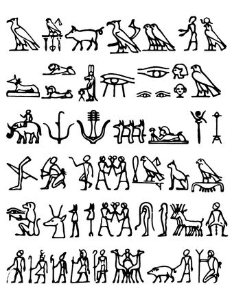 a cllection of black hieroglyphs on a white background photo