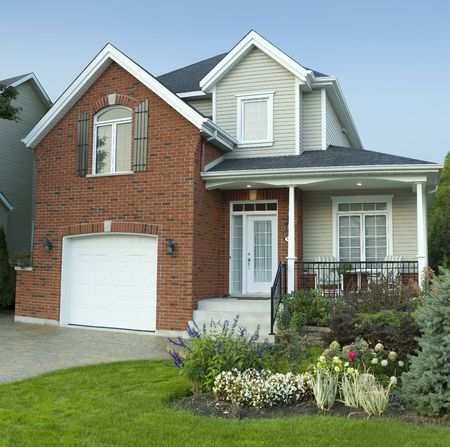 new modern small family house in residential area