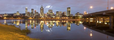 montreal: Panoramic night view of Montreal city in Quebec, Canada Stock Photo