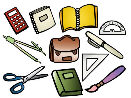 pensil: Vector based illustrations of school supplies Stock Photo