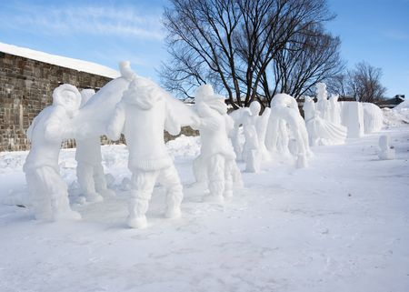 an Outside Competition of ice and snow sculptures