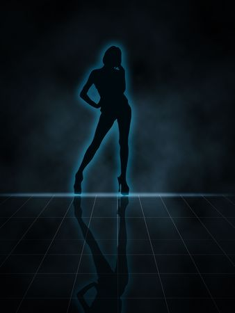 Illustration of a woman glowing silhouette on black background Stock fotó