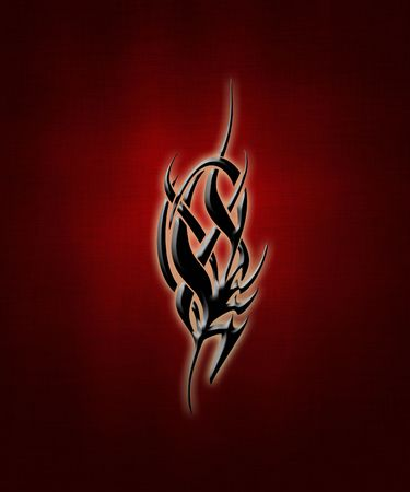 illustration of a black tribal sign on a gradient background