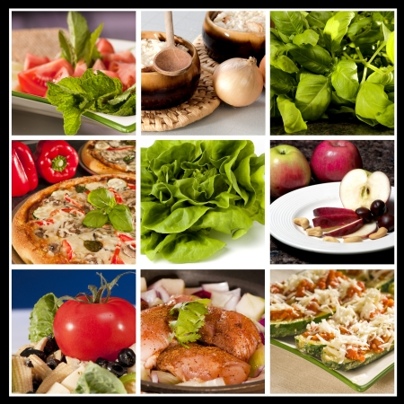 food collage: Collage of nine different food types in the same picture