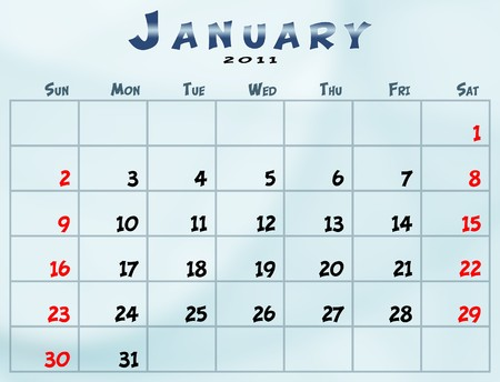 January 2011 Calendar from sunday to saturday Stok Fotoğraf