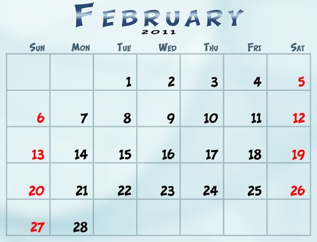 February 2011 Calendar from sunday to saturday