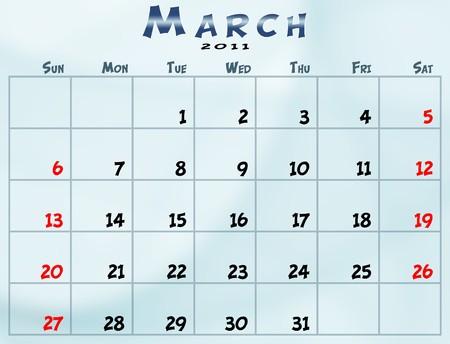 2011 년 3 월 일요일에서 토요일까지의 일정 스톡 콘텐츠