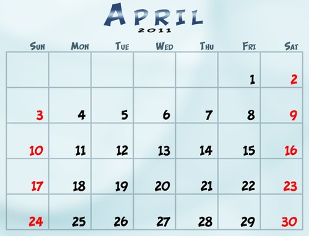 April 2011 Calendar from sunday to saturday Фото со стока - 8183023