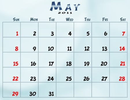 May 2011 Calendar from sunday to saturday