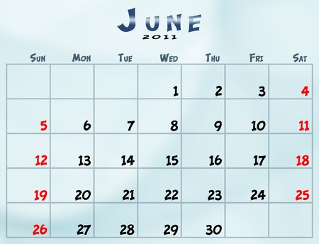 June 2011 Calendar from sunday to saturday Фото со стока - 8183006