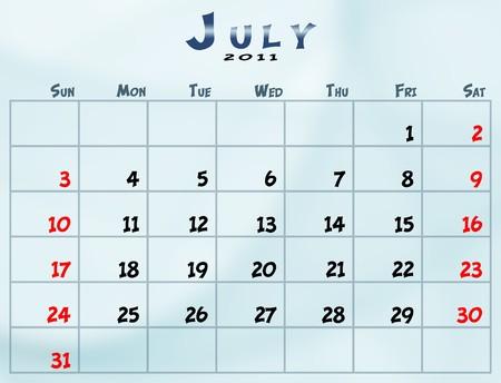 July 2011 Calendar from sunday to saturday Stok Fotoğraf
