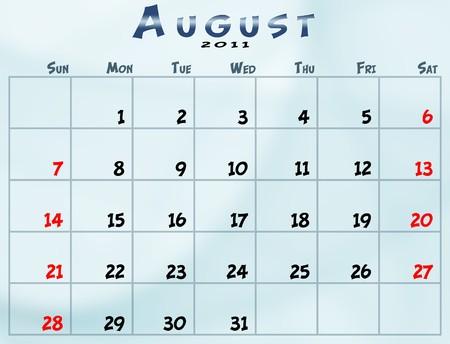 2011 년 8 월 일요일에서 토요일까지의 일정 스톡 콘텐츠