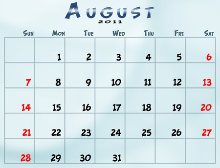 August 2011 Calendar from sunday to saturday