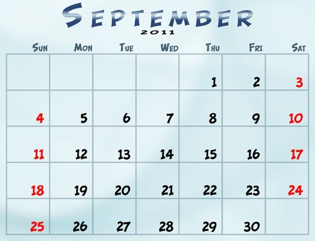 September 2011 Calendar from sunday to saturday Stock fotó - 8183027