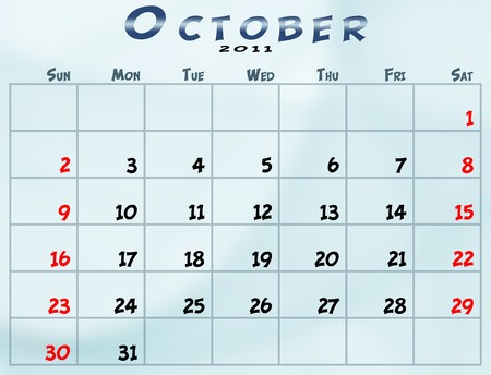 October 2011 Calendar from sunday to saturday