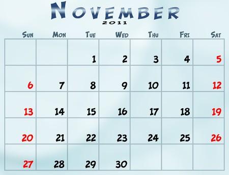 November 2011 Calendar from sunday to saturday