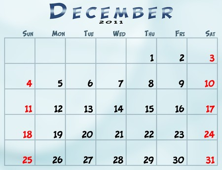 december: December 2011 Calendar from sunday to saturday Stock Photo