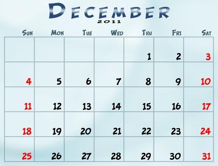 December 2011 Calendar from sunday to saturday Stock fotó