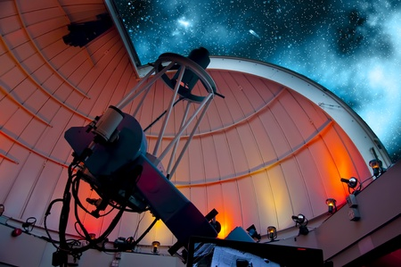 Research telescope pointing at the sky ready for observations