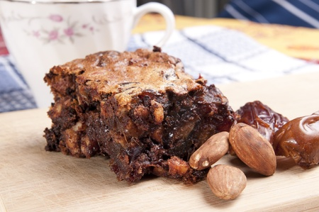 cake made with chocolate chips dates and almonds Stock fotó