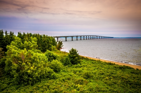 confederation: Cape Jourimain Confederation Bridge and the surrounding beach in New Brunswick Canada