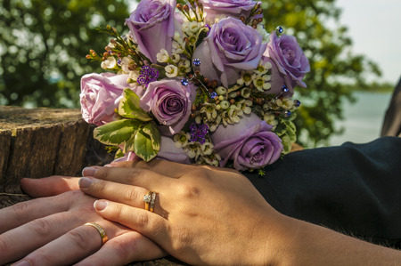 Just married couple showing their wedding rings Stock fotó