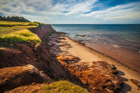 Eroded beach cliff Prince Edward Island Canada