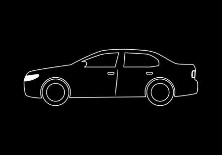 Modern car sedan flat icon. Illustration isolated on a white background. 矢量图像