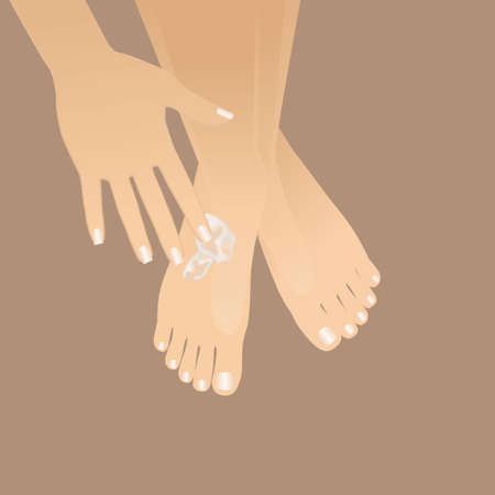 Beautiful well-groomed female hand applying foot moisturizer. Slender groomed woman's feet with cream on the brown background. Cares about clean and soft legs skin in winter time. Love a body.