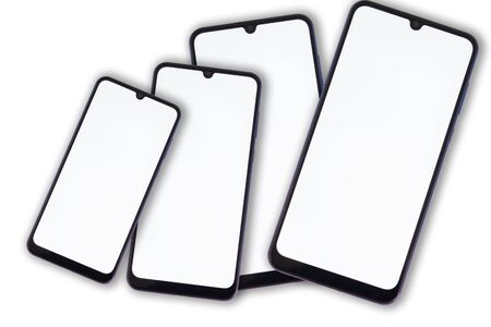 Four oval teardrop-shaped smartphones for the camera on a white background.