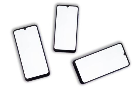 Three smartphones with a blank screen on a white background.
