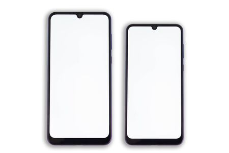 Two oval smartphones of different sizes lie symmetrically to each other with clean screens.