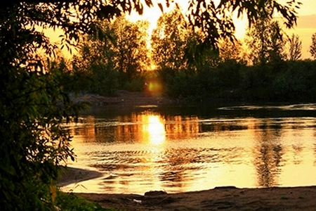 mode made: The evening sunset on the river,the Golden rays of the sun reflected on the water
