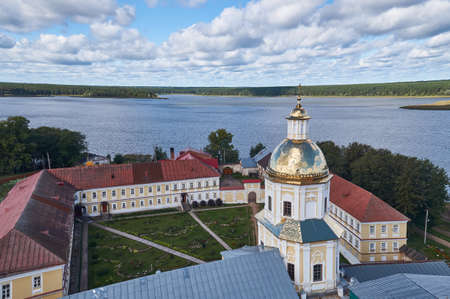 Panorama of lake Seliger from the bell tower of the Epiphany Cathedral