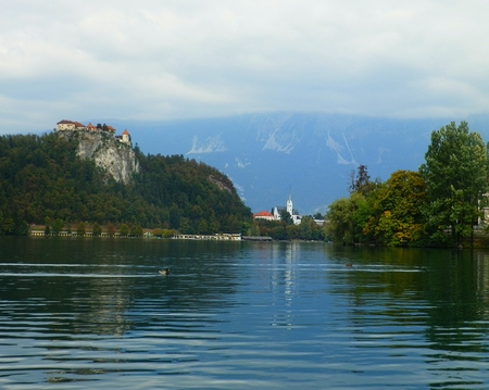 Bled castle in Bled lake, Slovenia Editorial
