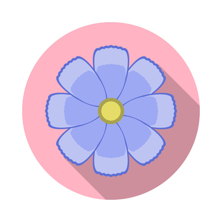 Cosmos Flower Flat Icon with shadow. Vector Icon
