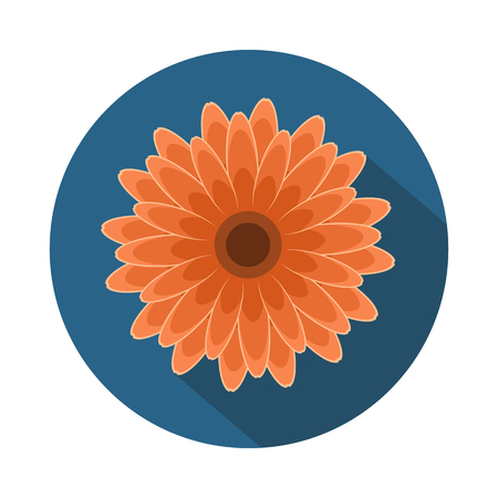 Gerbera Flower Flat Icon with shadow. Vector Icon Illustration