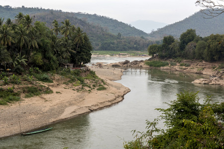 The jungle of the mekong river with a bamboo bridge Reklamní fotografie