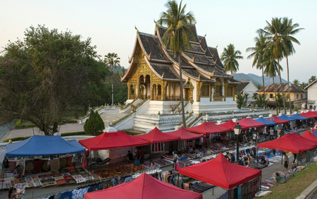Local market in front of the temple