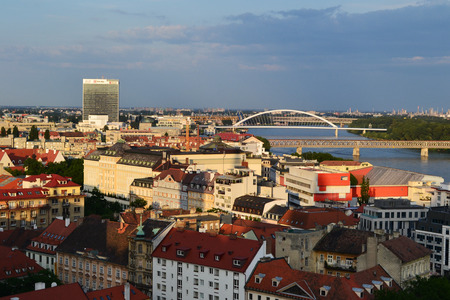 View of the city on the Danube bank in Bratislava Stock Photo