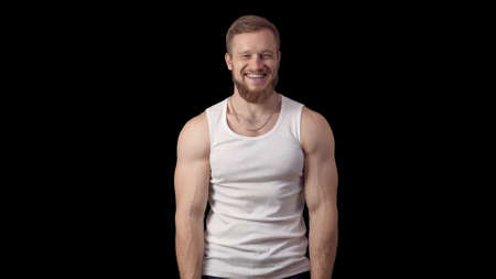 man laughed unexpectedly. Caucasian man with beard in a shirt smiles and claps. Stock fotó