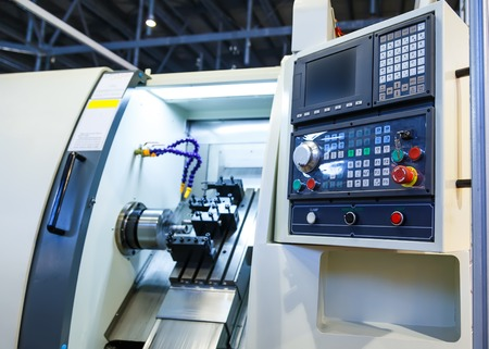 Computer control panel lathe with numerical control 스톡 콘텐츠