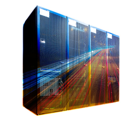 datacentre: double exposure mainframe with road traffic and road Stock Photo