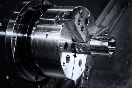 de metal mecanismo de giro, fresadora CNC de cerca Foto de archivo