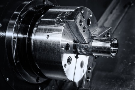 metal gear turning, CNC milling machine close-up