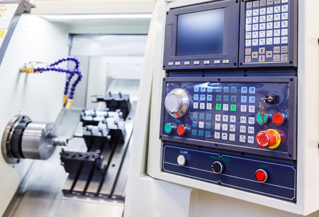 cnc: Control Panel of the machine with numerical control Stock Photo